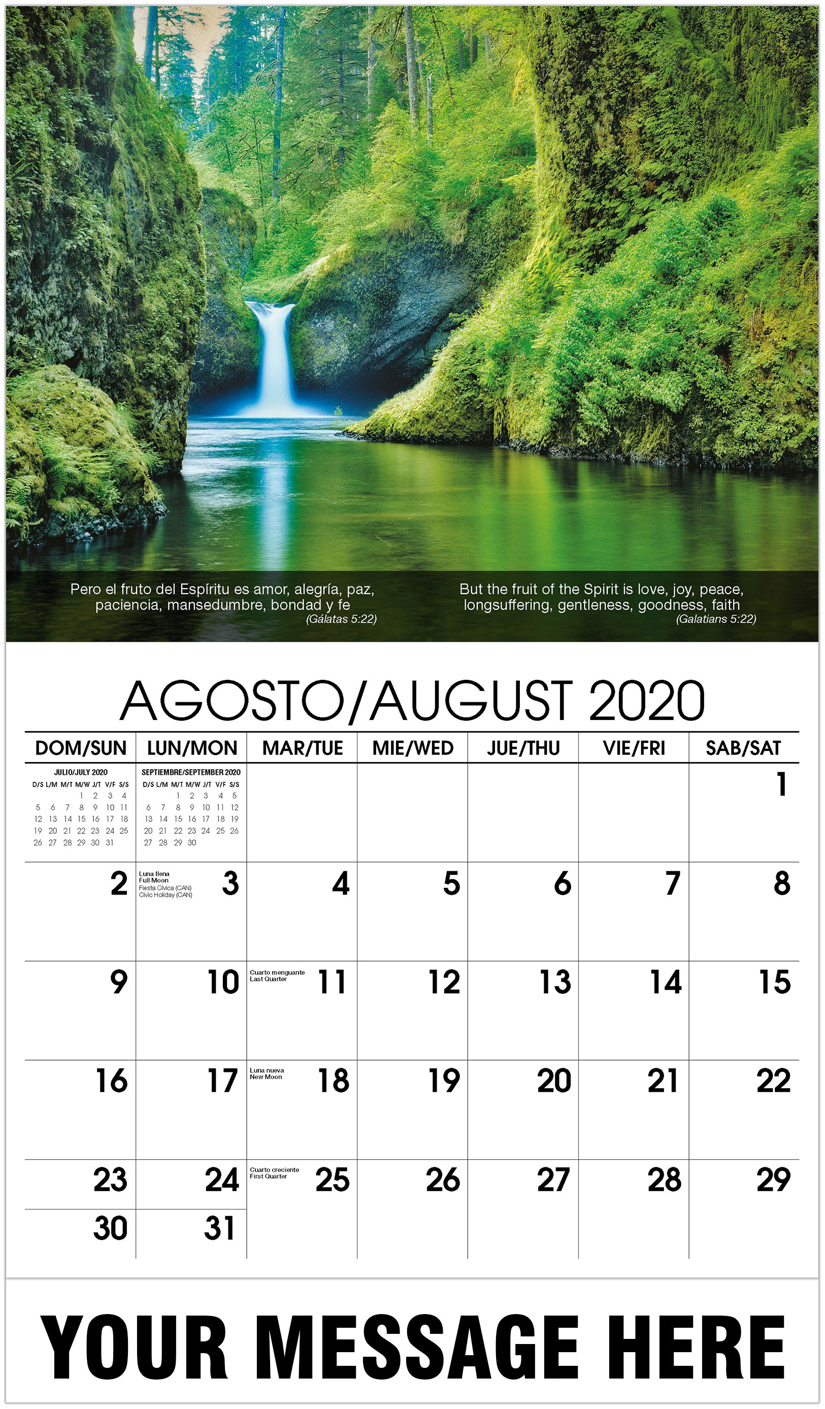 2020 Bilingual Business Advertising Calendar - Waterfall - August