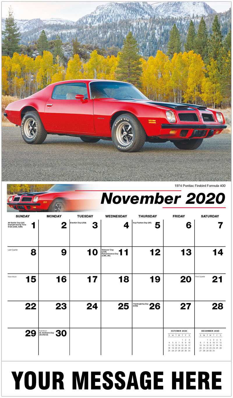 2020 Advertising Calendar - 1974 Pontiac Firebird Formula 400 - November