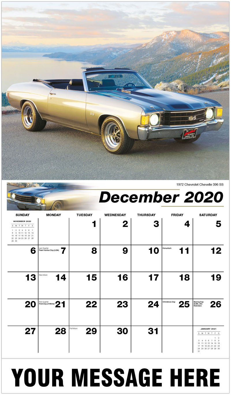 2020 Advertising Calendar - 1972 Chevrolet Chevelle 396 Ss - December_2020