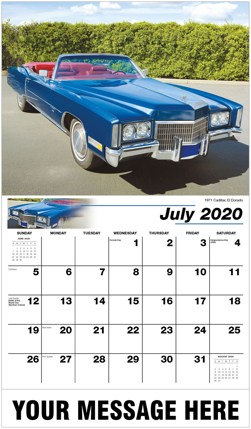 2020 Business Advertising Calendar - 1971 Cadillac Eldorado - July