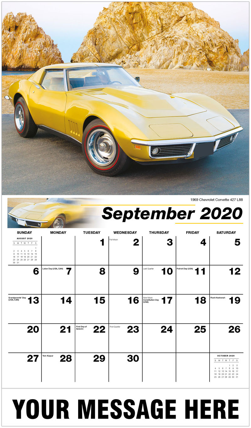 2020 Business Advertising Calendar - 1969 Chevrolet Corvette 427 L88 - September