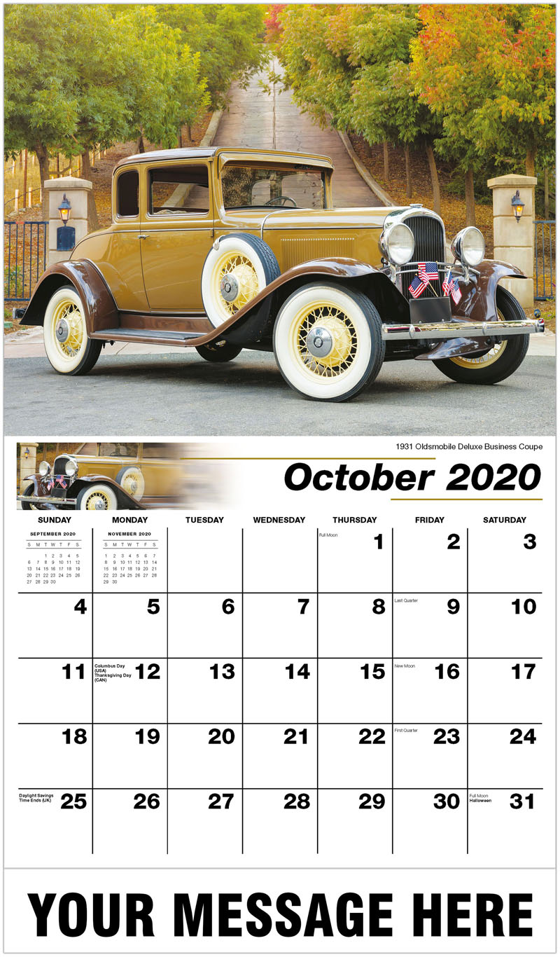 2020 Business Advertising Calendar - 1931 Oldsmobile Deluxe Business Coupe - October