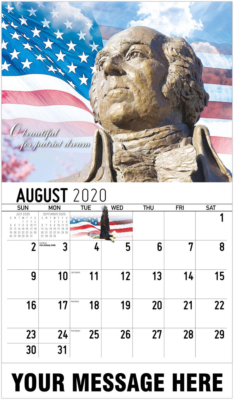 2020 Business Advertising Calendar - O Beautiful Patriot Dream - August