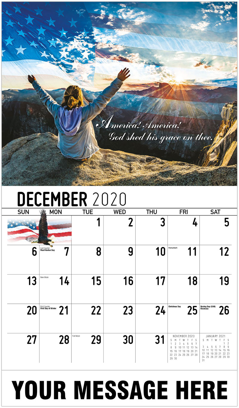 2020 Advertising Calendar - America! America! God Shed His Grace On Thee. - December_2020