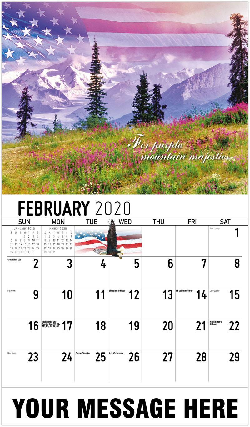 2020 Promotional Calendar - For Purple Mountain Majesties - February