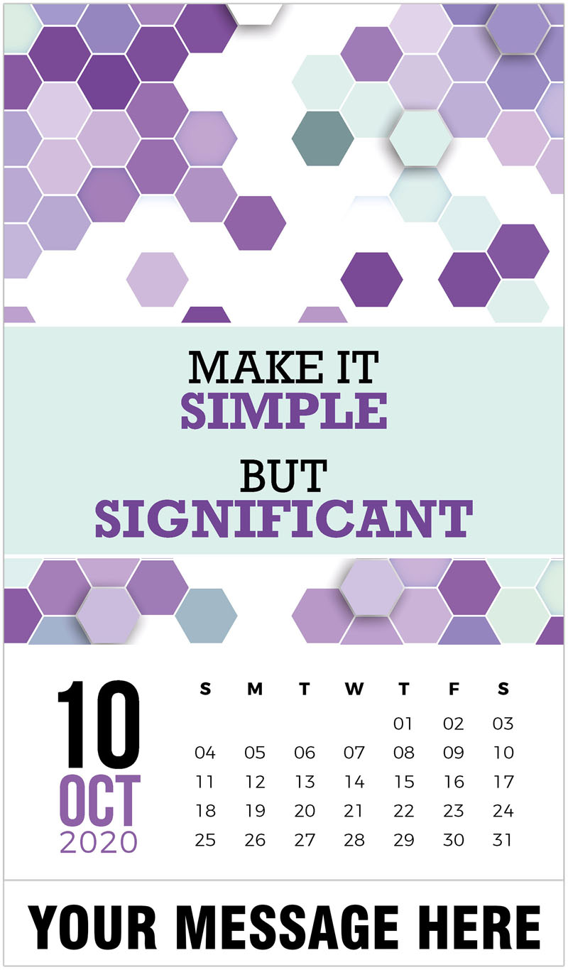 2020 Business Advertising Calendar - Make it simple but significant. - October
