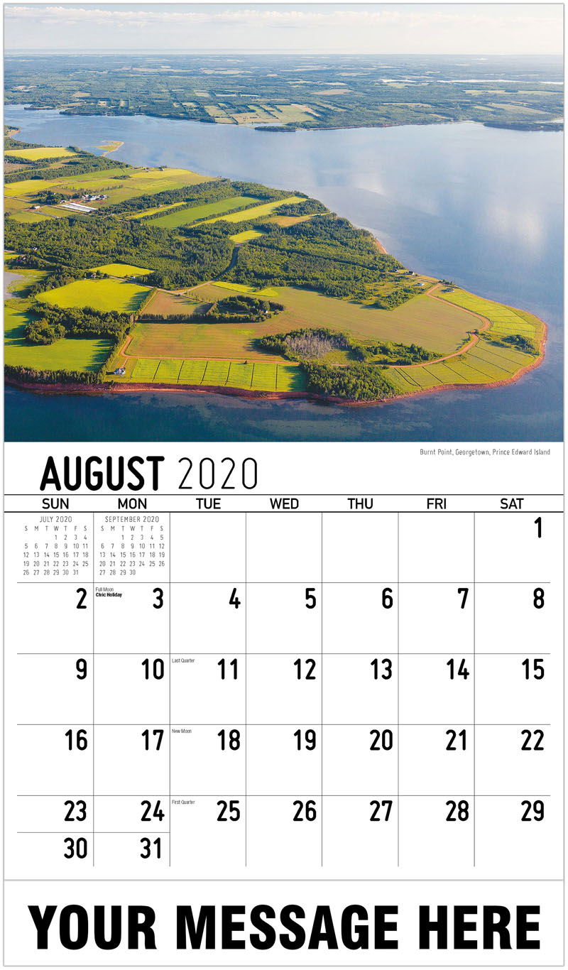 2020 Business Advertising Calendar - Burnt Point, Georgetown, Prince Edward Island - August