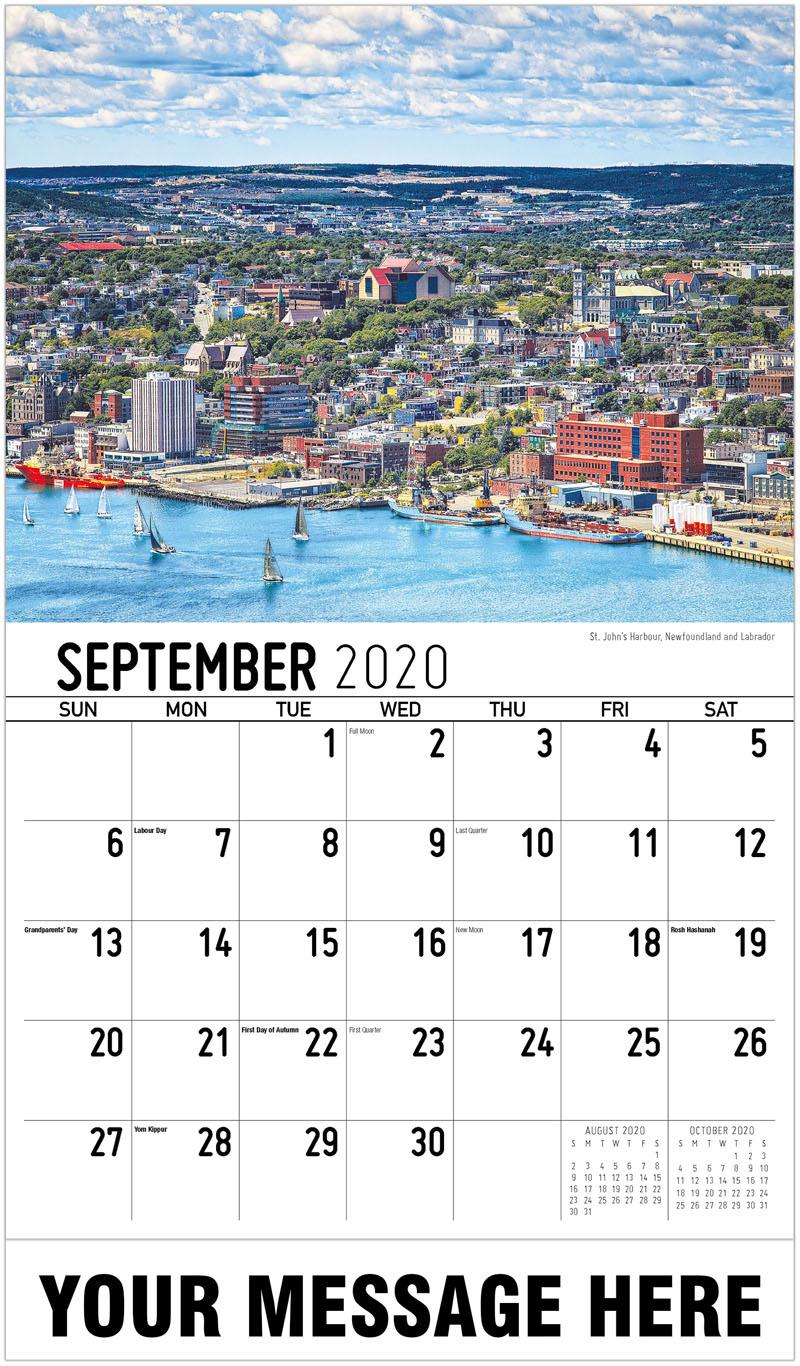 2020 Business Advertising Calendar - Saint John'S Harbour, Newfoundland And Labrador - September