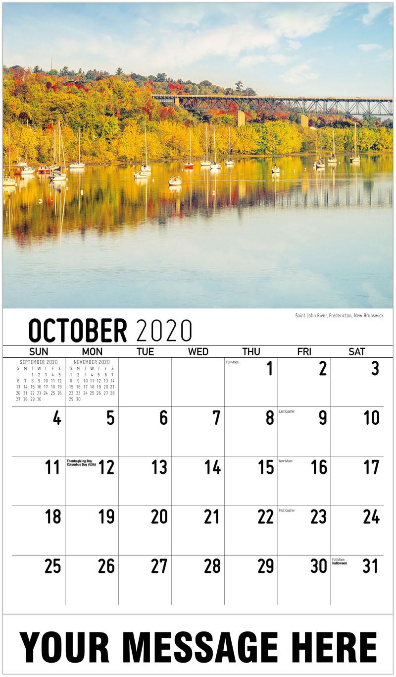 2020 Business Advertising Calendar - Saint John River, Fredericton New Brunswick - October