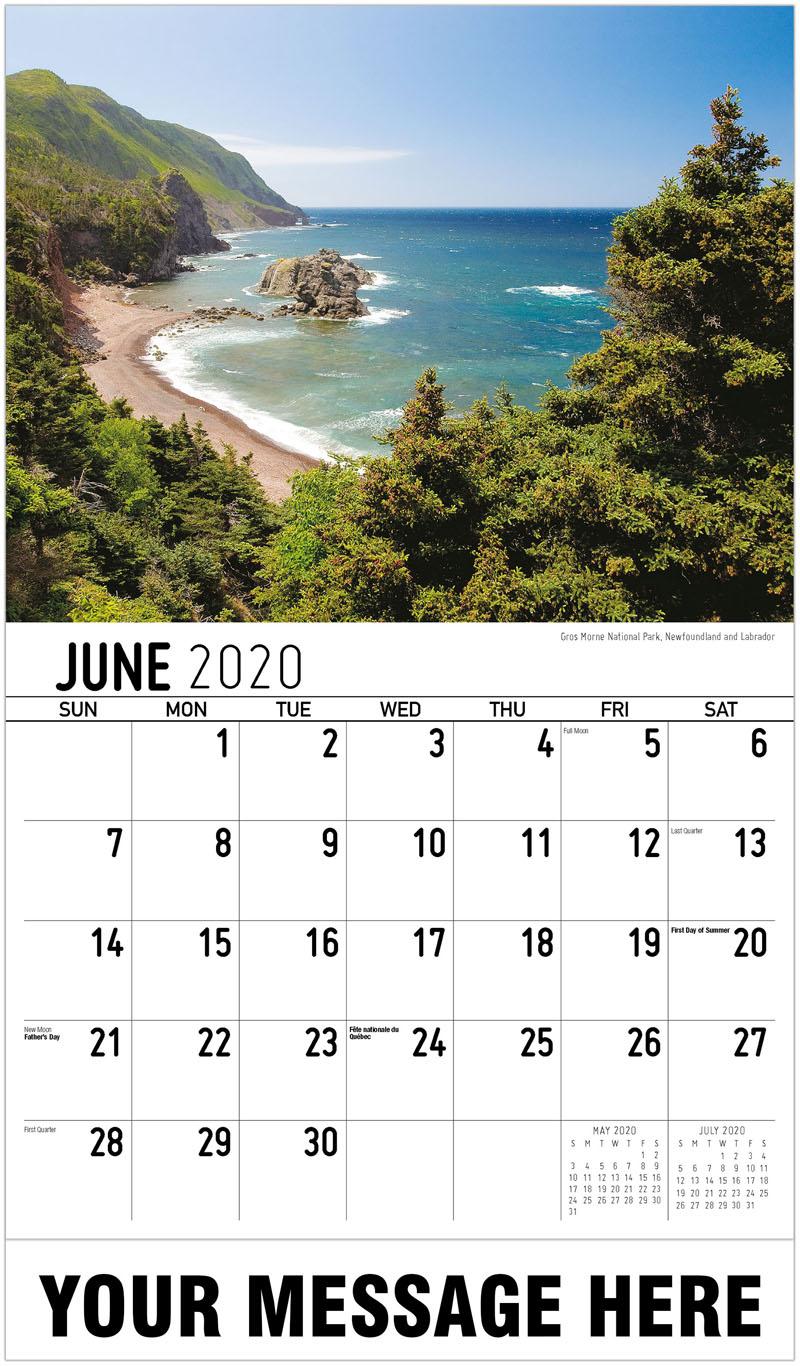 2020 Promo Calendar - Gros Morne National Park, Newfoundland And Labrador - June