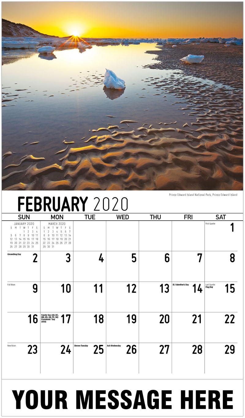 2020 Promotional Calendar - Prince Edward Island National Park, Prince Edward Island - February