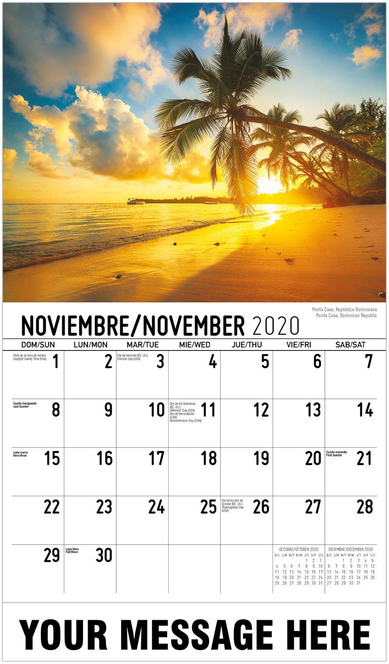 2020 Advertising Calendar - Punta Cana, Dominican Republic Punta Cana, República Dominicana - November