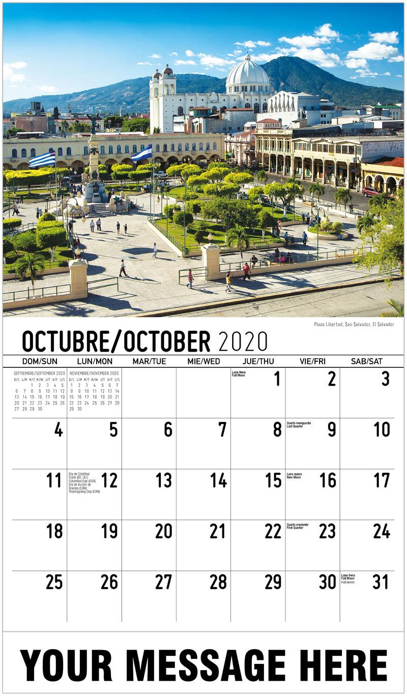 2020 Business Advertising Calendar - Plaza Libertad, San Salvador, El Salvador - October