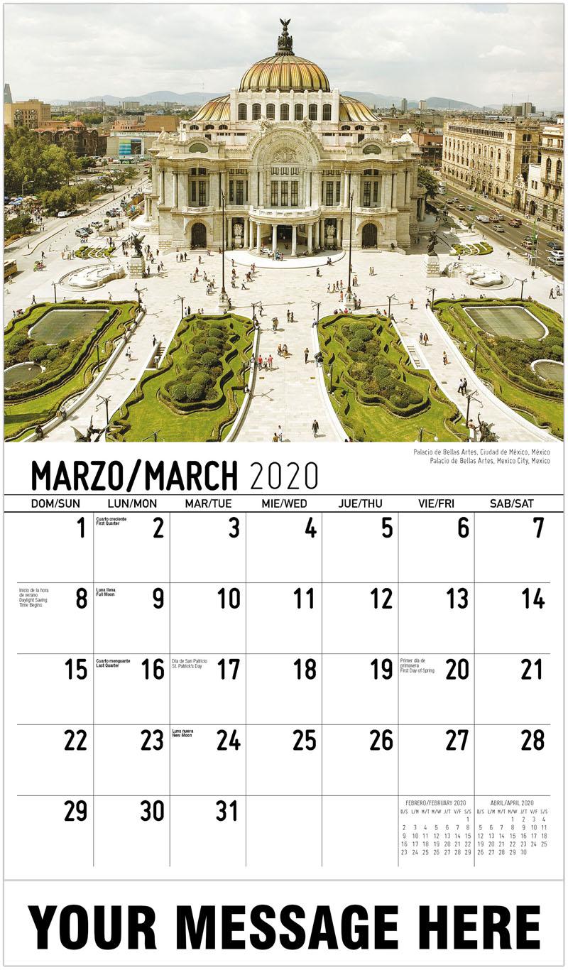 2020 Promotional Calendar - Palacio De Bellas Artes, Mexico City, Mexico Palacio De Bellas Artes, Ciudad De México, México - March
