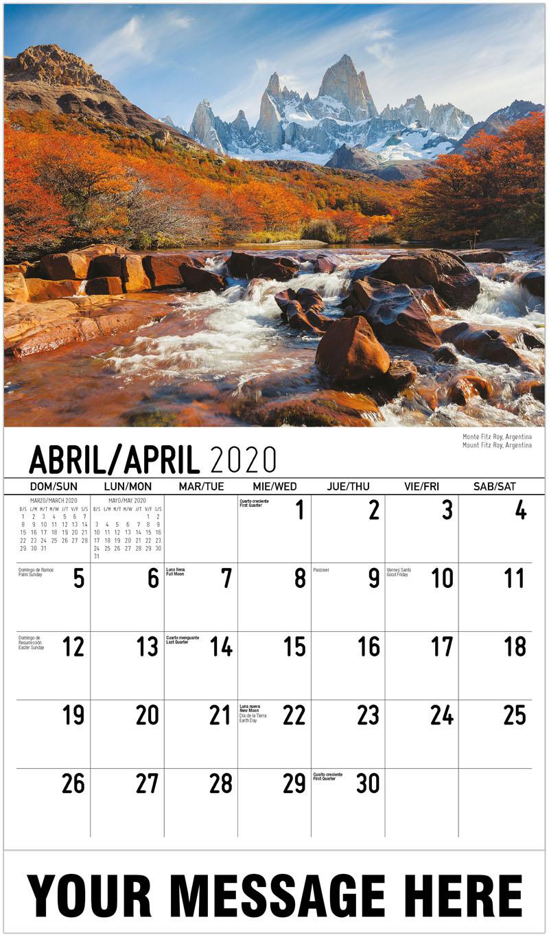 2020 Promotional Calendar - Mount Fitz Roy, Argentina Monte Fitz Roy, Argentina - April