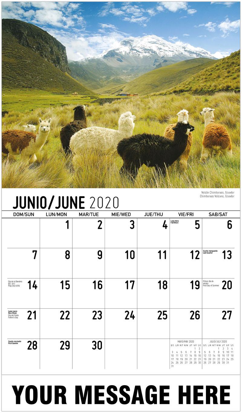 2020 Promotional Calendar - Chimborazo Volcano, Ecuador Volcán Chimborazo, Ecuador - June