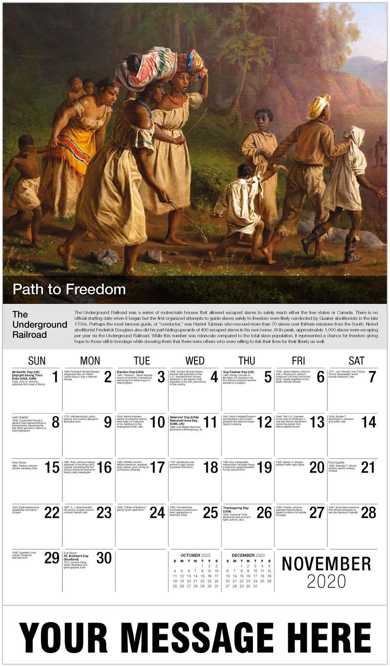 2020 Advertising Calendar - The Underground Railroad - November