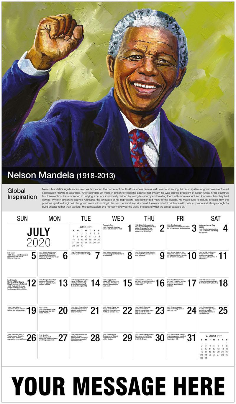 2020 Business Advertising Calendar - Nelson Mandela - July