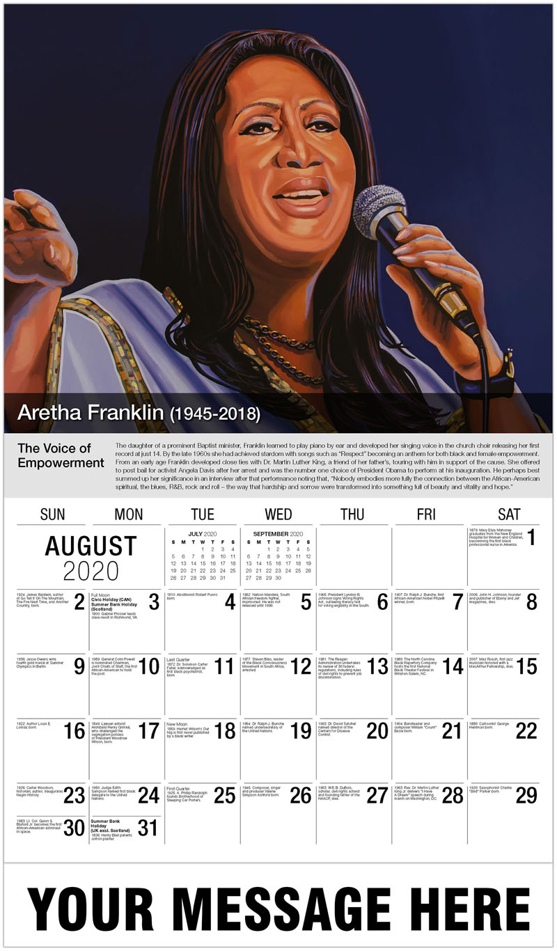2020 Business Advertising Calendar - Aretha Franklin - August