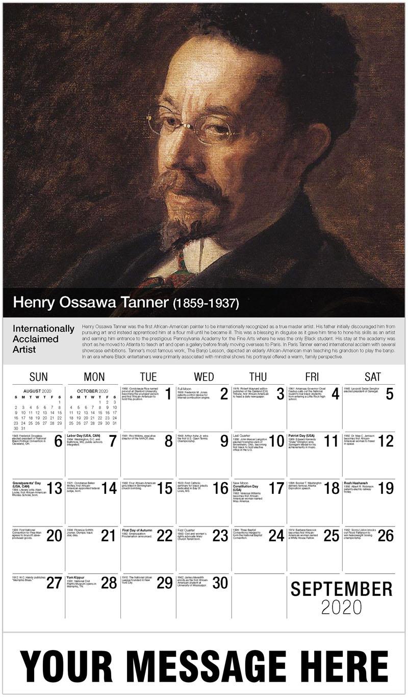 2020 Business Advertising Calendar - Henry Ossawa Tanner - September