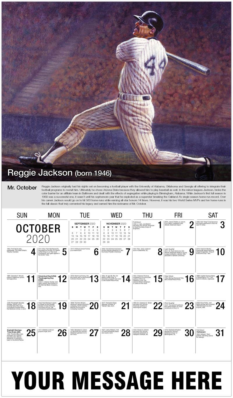 2020 Business Advertising Calendar - Reggie Jackson - October