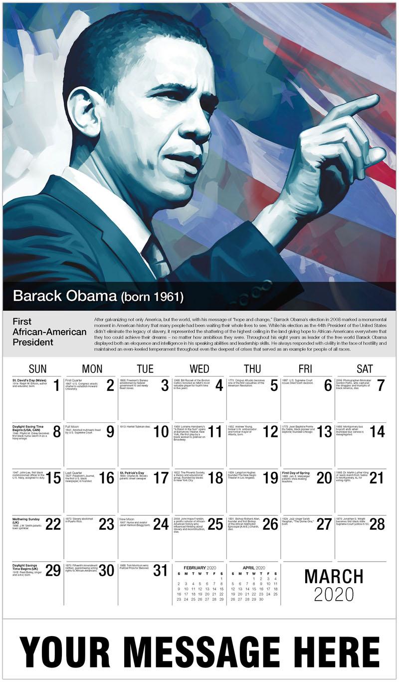 2020 Promo Calendar - Barack Obama - March