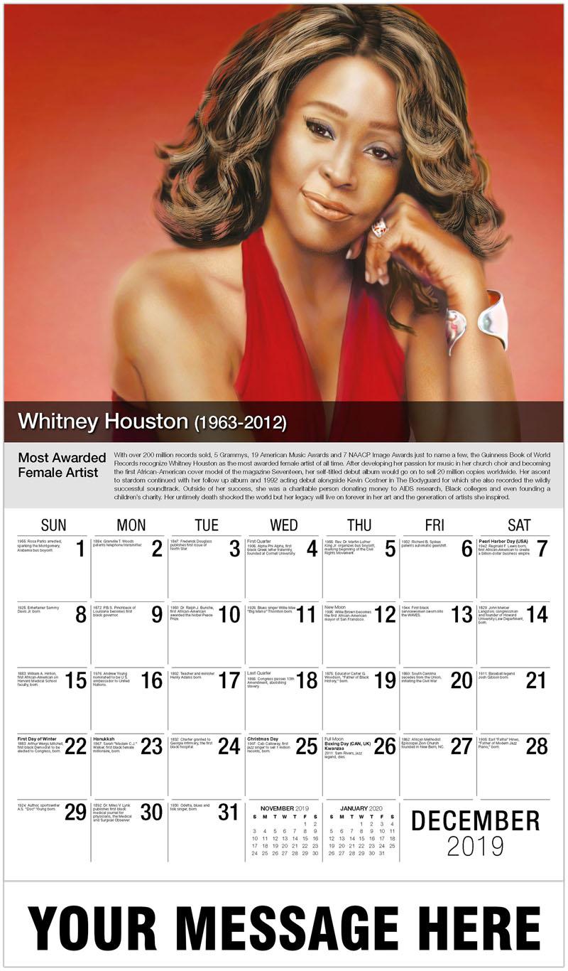 2020 Promotional Calendar - Whitney Houston - December_2019