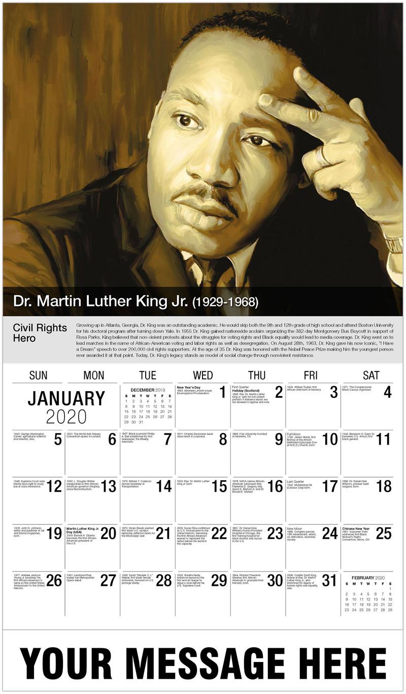 2020 Promotional Calendar - Martin Luther King Jr. - January