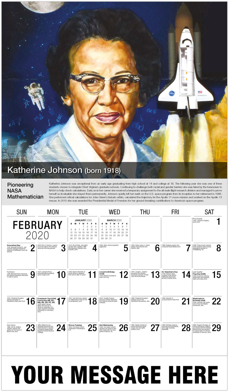 2020 Promotional Calendar - Katherine Johnson - February
