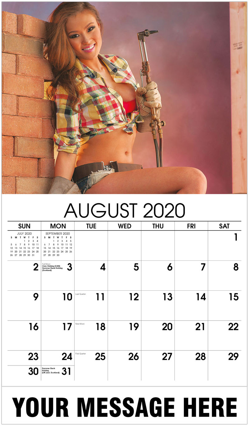 2020 Business Advertising Calendar - Construction Girls Calendar - August 2020