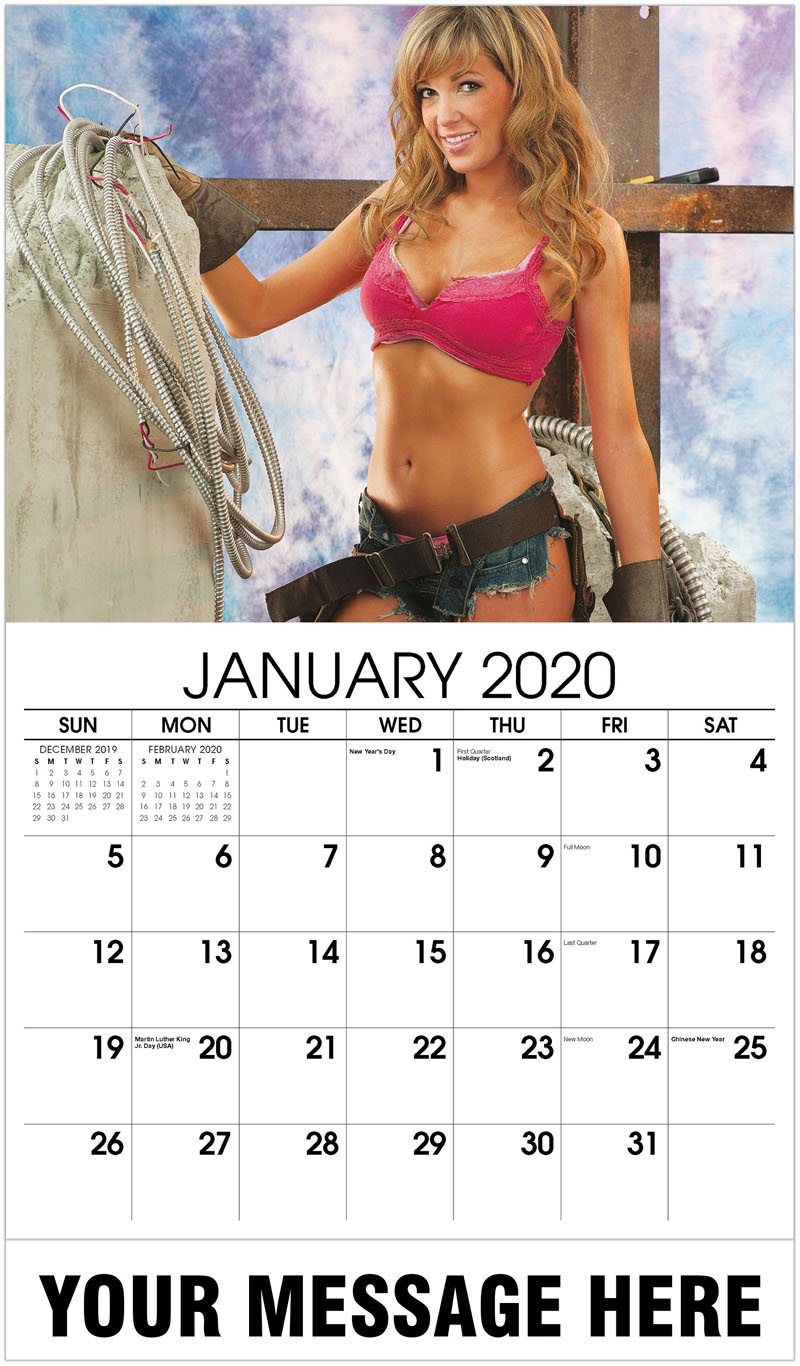 2020 Promotional Calendar - Construction Girls Calendar - January 2020