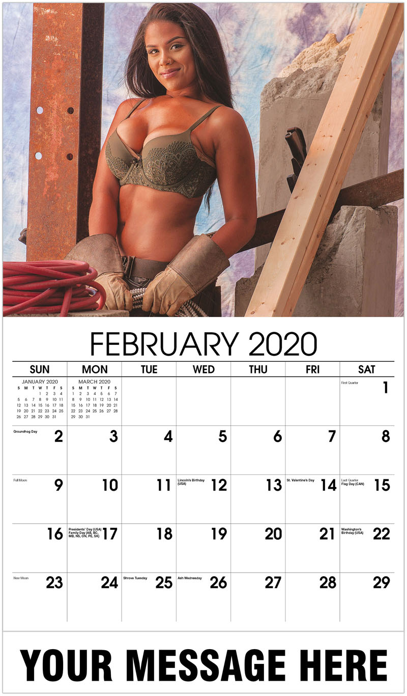 2020 Promotional Calendar - Construction Girls Calendar - February 2020