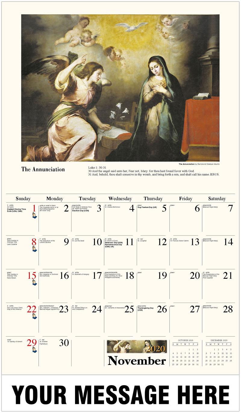 2020 Advertising Calendar - The Annunciation By Bartolomé Esteban Murillo - November