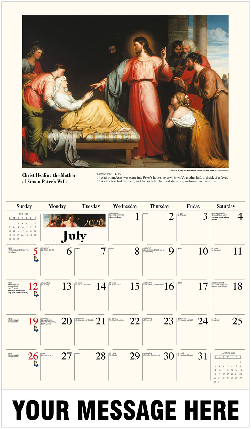 2020 Business Advertising Calendar - Christ Healing The Mother Of Simon Peter'S Wife By John Bridges - July