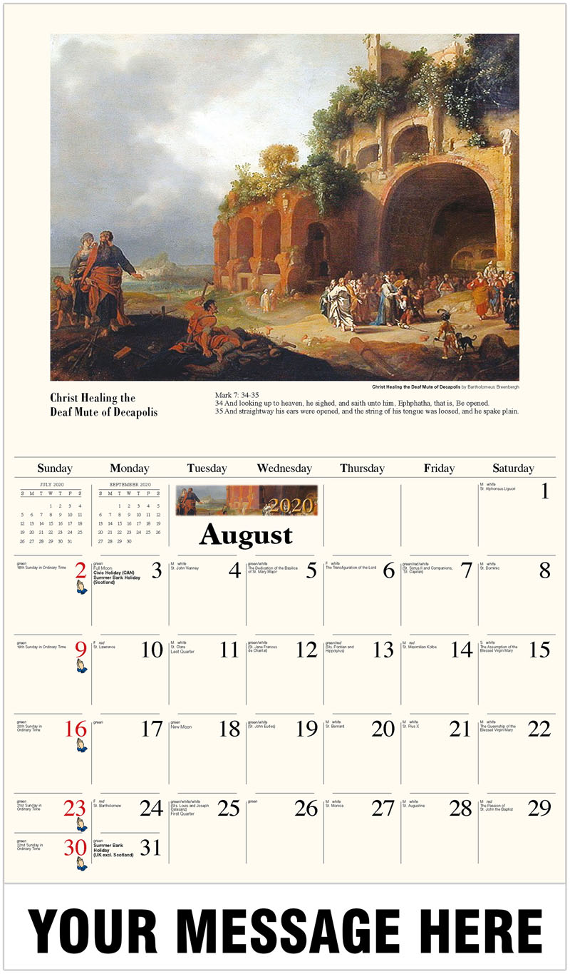 2020 Business Advertising Calendar - Christ Healing The Deaf Mute Of Decapolis By Bartholomeus Breenbergh - August