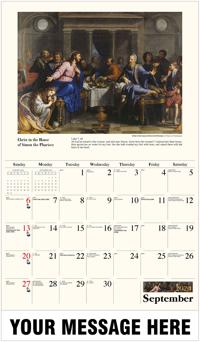 2020 Business Advertising Calendar - Christ In The House Of Simon The Pharisee By Philippe De Champaigne - September