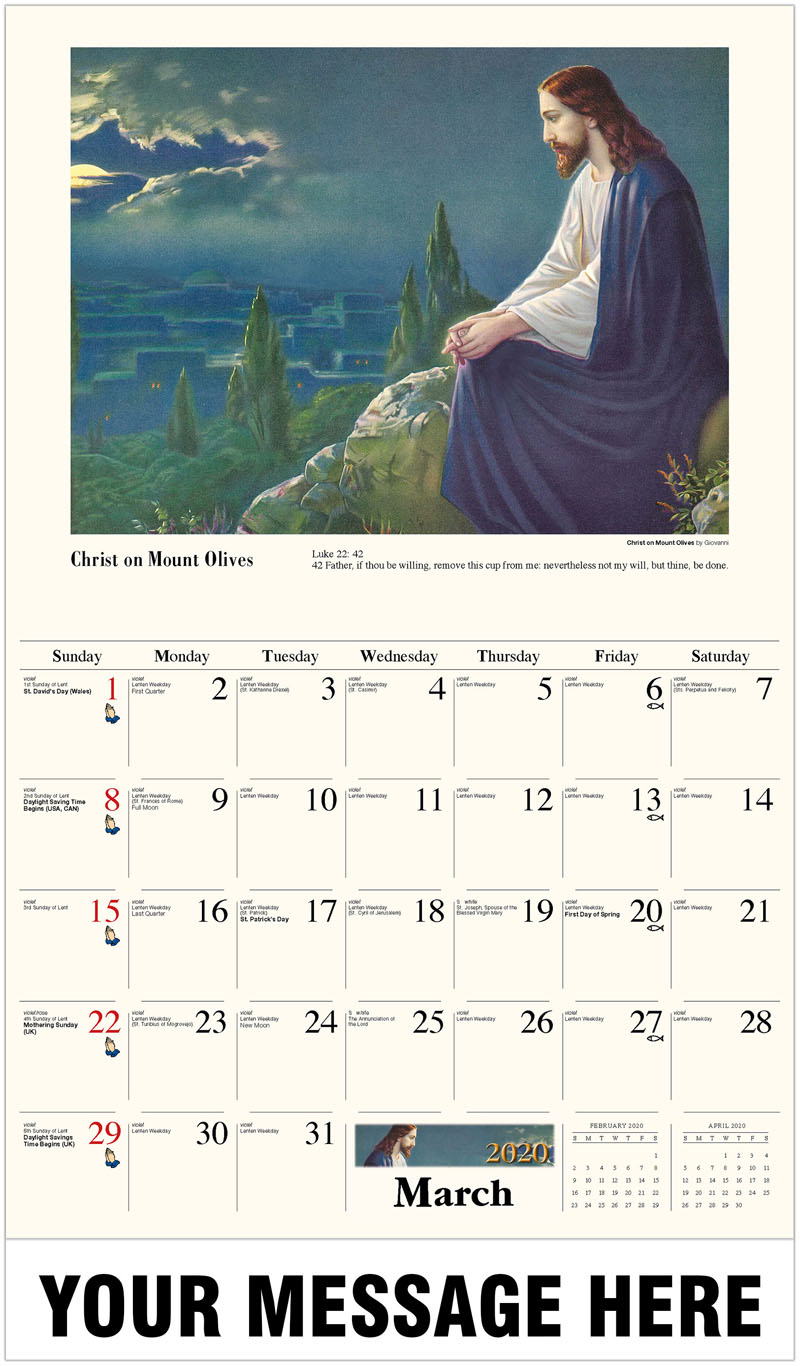 2020 Promo Calendar - Christ On Mount Olives By Giovanni - March