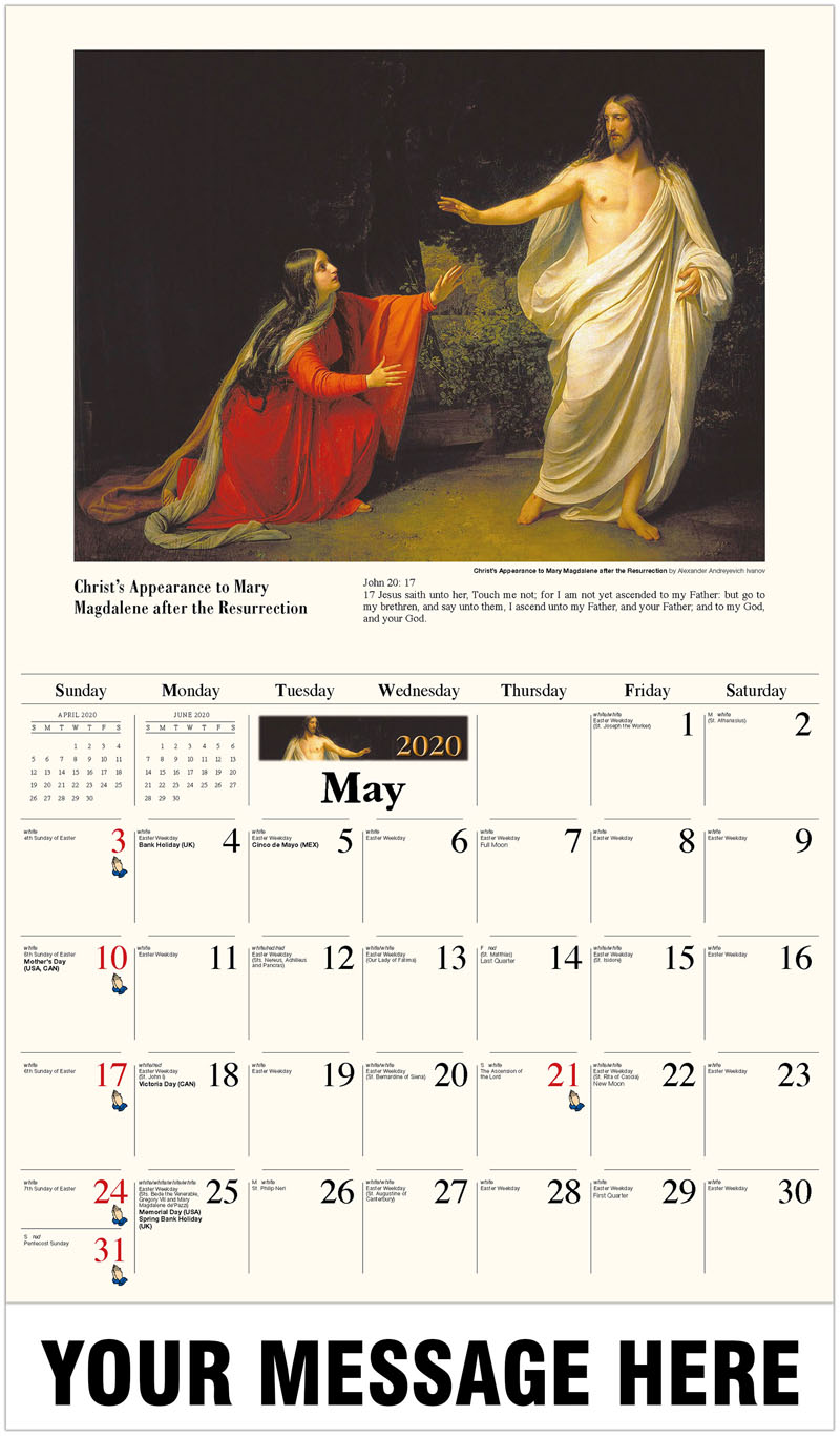 2020 Promo Calendar - Christ'S Appearance To Mary Magdalene After The Resurrection By Alexander Andreyevich Ivanov - May