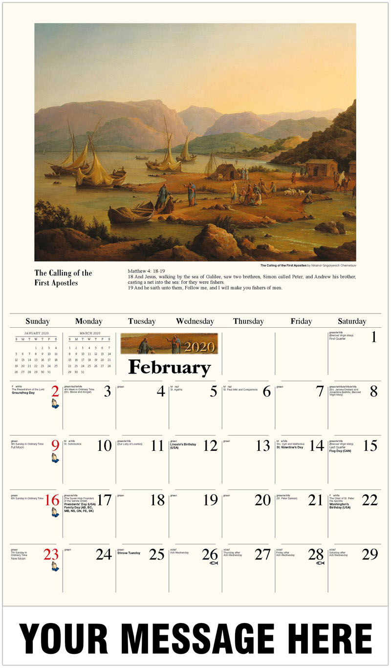 2020 Promotional Calendar - The Calling Of The First Apostles By Nikanor Grigoryevich Chernetsov - February