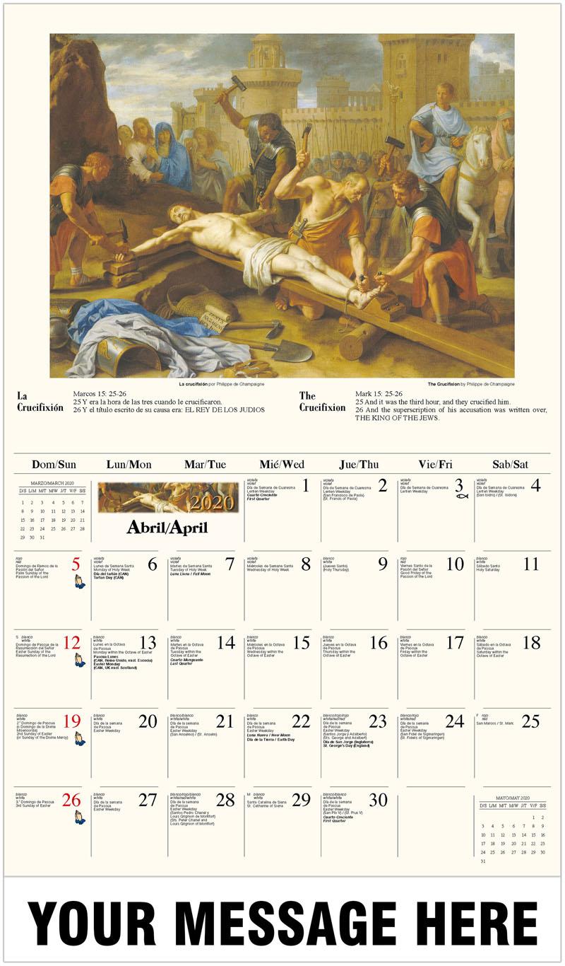 2020  Spanish-English Advertising Calendar - La crucifixión por Philippe de Champaigne / The Crucifixion By Philippe De Champaigne - April