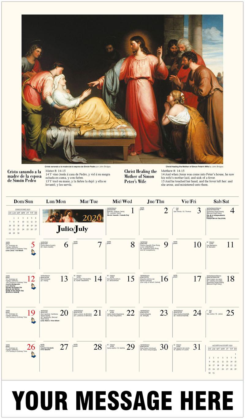 2020  Spanish-English Advertising Calendar - Cristo sanando a la madre de la esposa de Simón Pedro por John Bridges / Christ Healing The Mother Of Simon Peter'S Wife By John Bridges - July