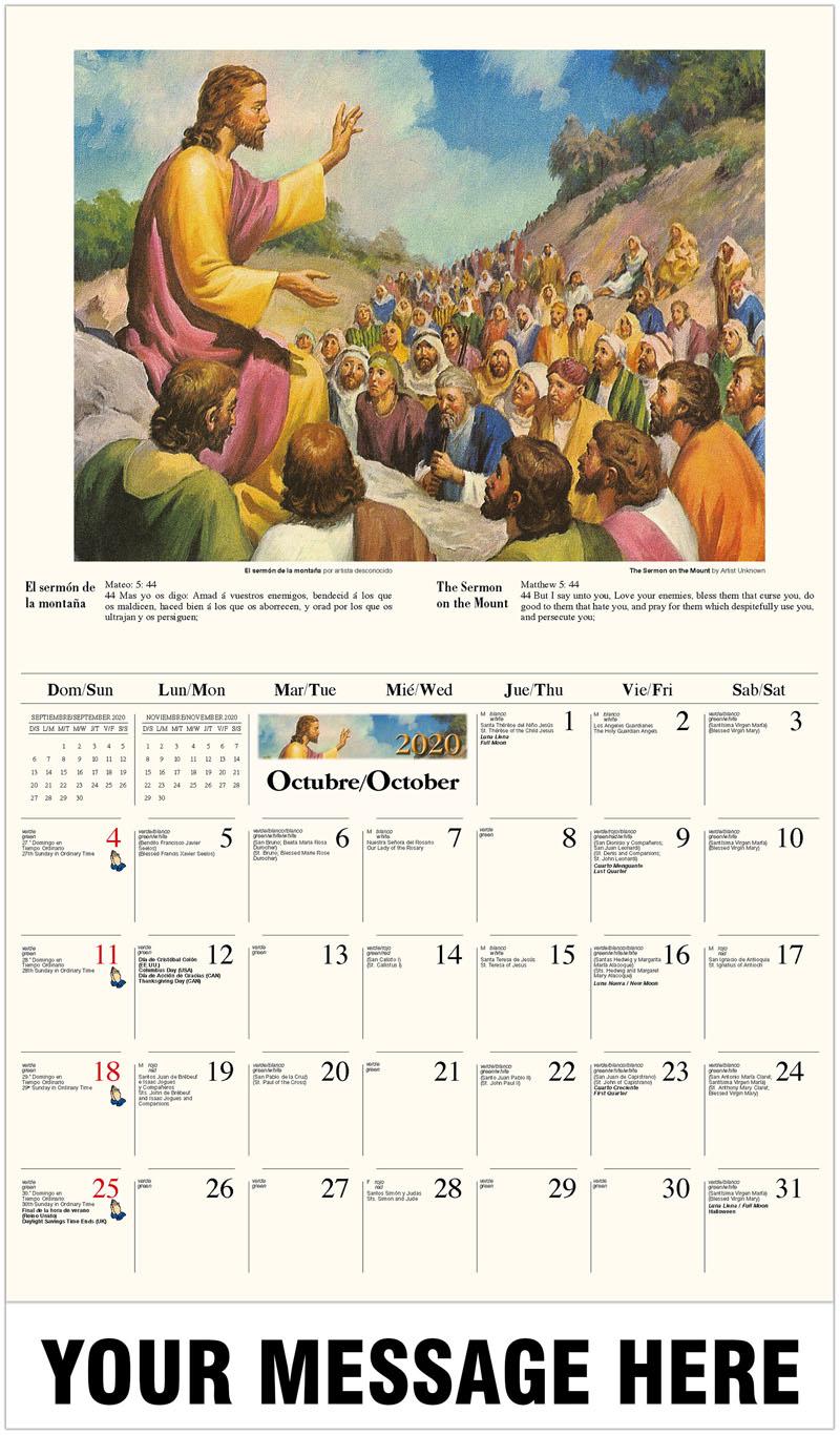 2020  Spanish-English Promo Calendar - El sermón de la montaña por artista desconocido / The Sermon On The Mount By Artist Unknown - October