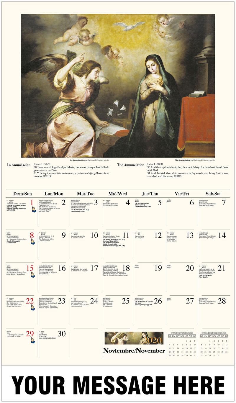 2020  Spanish-English Promo Calendar - La Anunciación por Bartolomé Esteban Murillo / The Annunciation By Bartolomé Esteban Murillo - November