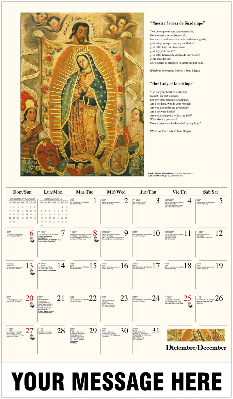 2020  Spanish-English Promo Calendar - Nuestra Señora de Guadalupe artista desconocido / Our Lady Of Guadalupe By Artist Unknown - December_2020