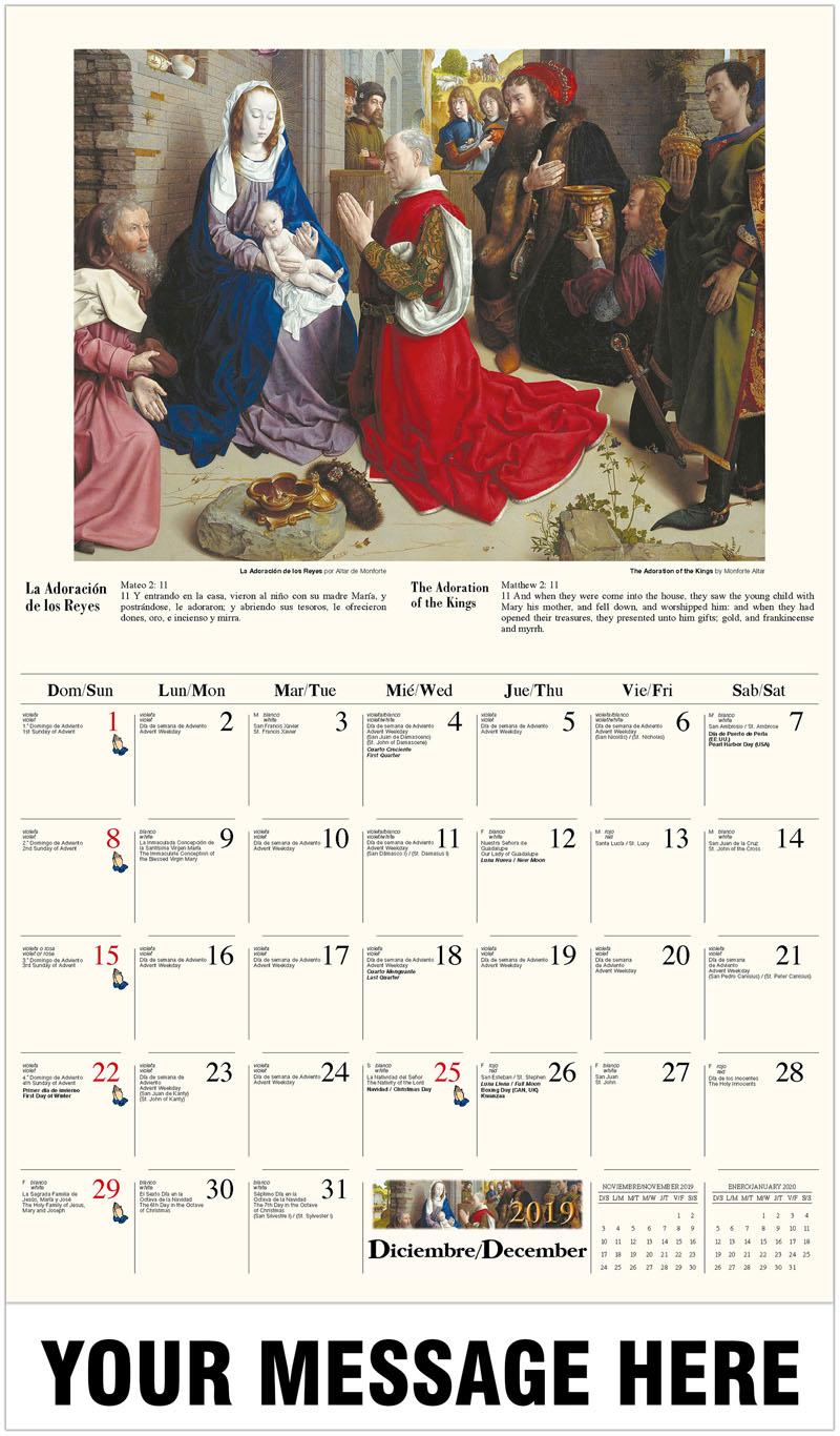 2020  Spanish-English Promotional Calendar - Adoración de los pastores por Hugo Ven Der Goes / The Adoration Of The Magi (Monforte Altar) By Hugo Van Der Goes - December_2019