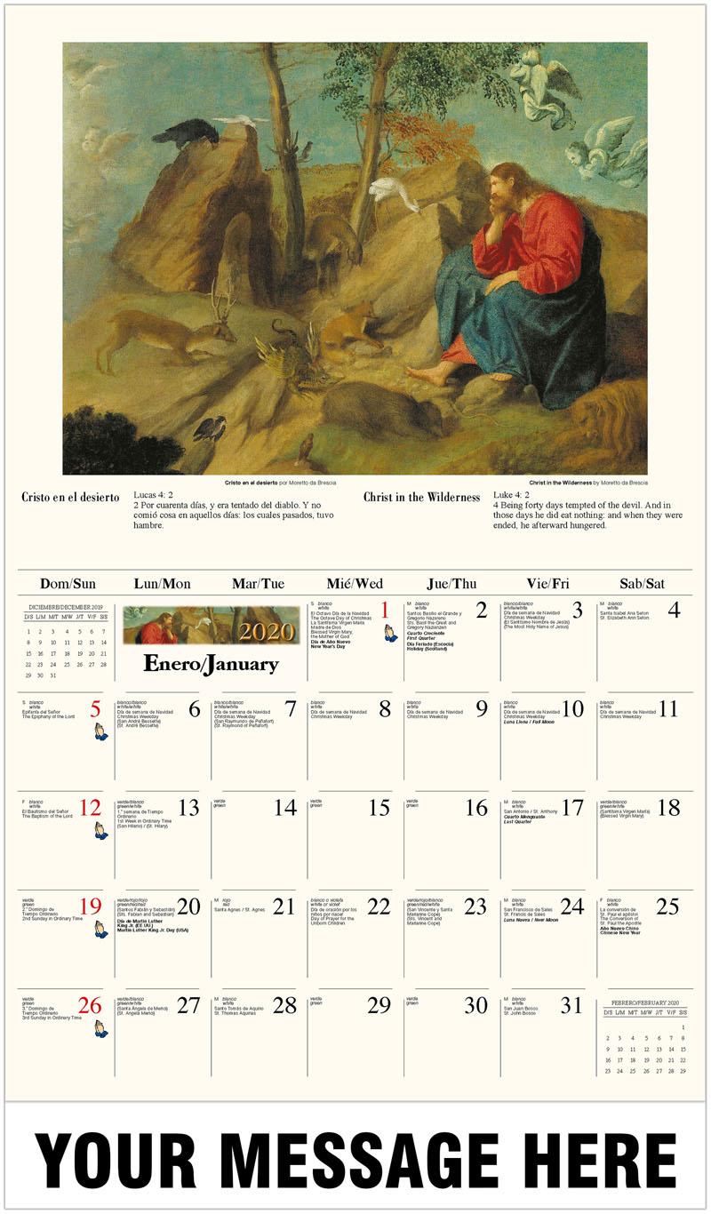 2020  Spanish-English Promotional Calendar - Cristo en el desierto por Moretto da Brescia / Christ In The Wilderness By Moretto Da Brescia - January