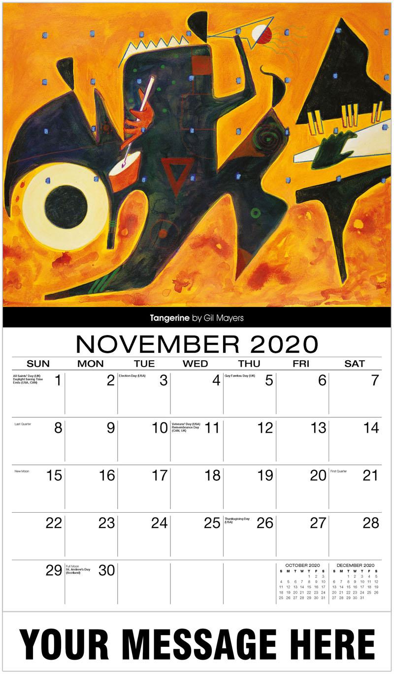 2020 Advertising Calendar - Tangerine By Gil Mayers - November