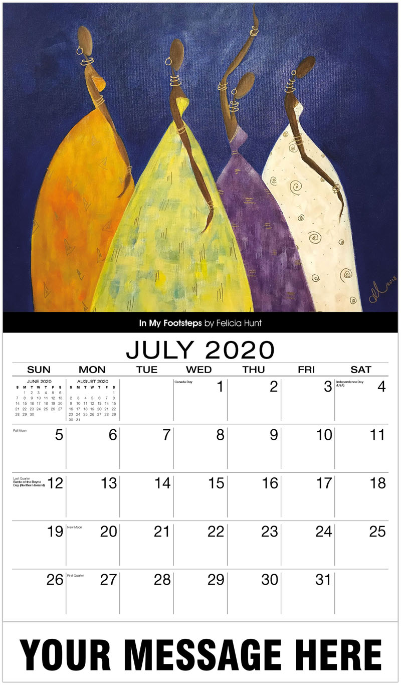 2020 Business Advertising Calendar - In My Footsteps By Felicia Hunt - July