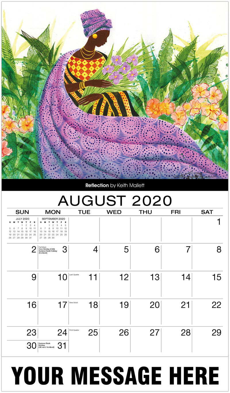 2020 Business Advertising Calendar - Reflection By Keith Mallett - August