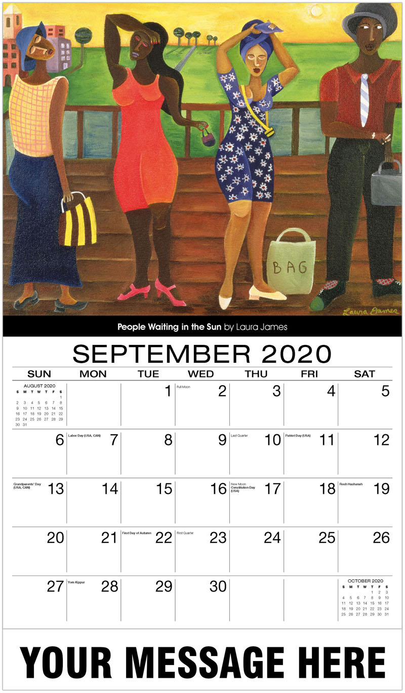 2020 Business Advertising Calendar - People Waiting In The Sun By Laura James - September